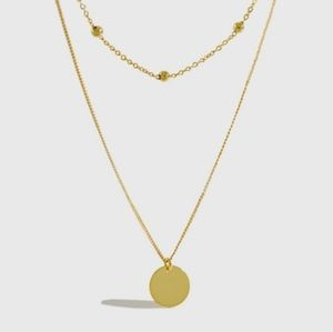 NEW 18k Yellow Gold S925 Layer Coin Necklace